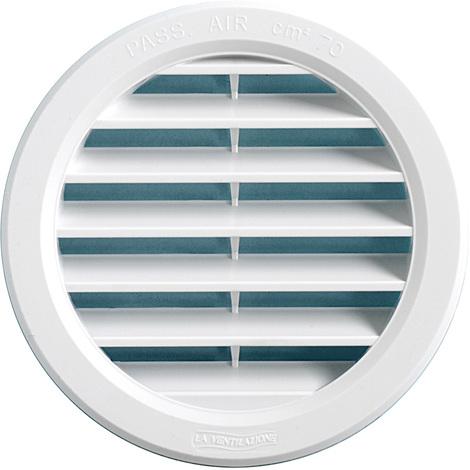 Grille Ventilation Ronde à Encastrer Plastique Blanc Ext ø40mm