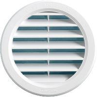 Grille ventilation ronde à encastrer plastique blanc