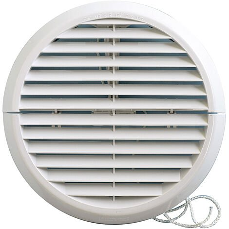 Grille ventilation ronde PVC IN OUT + moustiquaire Øext:170mm Øtube:100 à 140mm