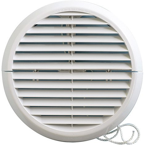 Grille ventilation ronde PVC IN OUT + moustiquaire Øext:186mm Øtube:125 à 160mm