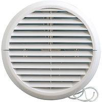 Grille ventilation ronde PVC IN OUT + moustiquaire Øext:186mm Øtube:125 à 160mm