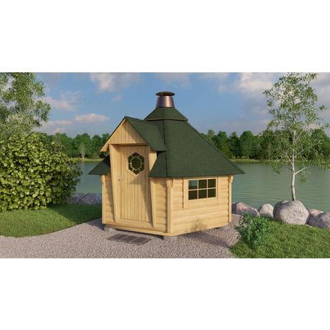 Grillkota Caro 7 m² mit grünen Dachschindeln