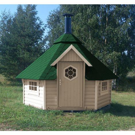 Grillkota Caro 9 m² mit grünen Dachschindeln