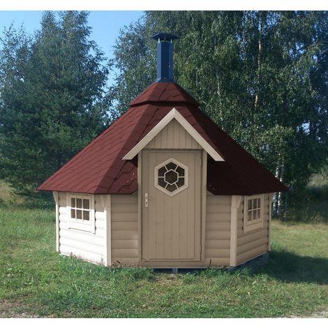 Grillkota Caro 9 m² mit roten Dachschindeln