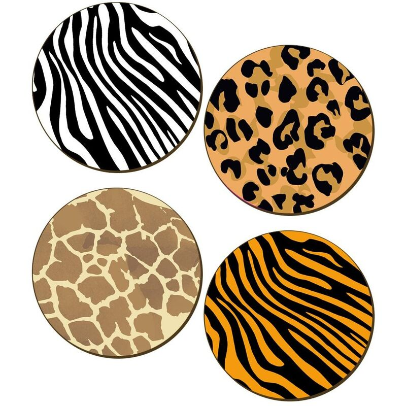 Image of Animal Print Coaster Set (Pack of 4) (One Size) (Multicoloured) - Grindstore
