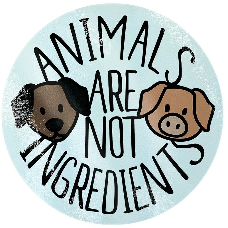 Image of Animals Are Not Ingredients Chopping Board (One Size) (Black/Brown/Light Blue) - Grindstore