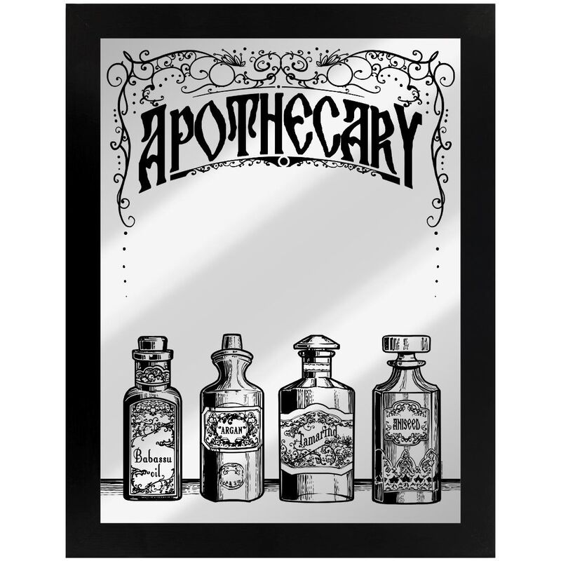 Image of Apothecary Mirrored Plaque (One Size) (Black/Silver) - Grindstore