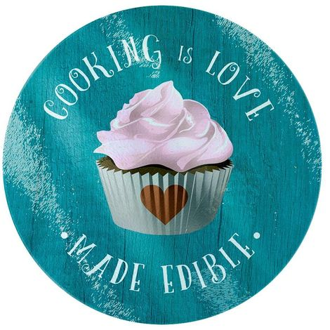Grindstore Cooking Is Love Made Edible Glass Chopping Board (One Size) (Blue)