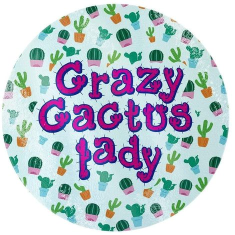Grindstore Crazy Cactus Lady Circular Glass Chopping Board (One Size) (Green)