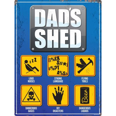 Grindstore Dads Shed Plaque (One Size) (Blue/Yellow)
