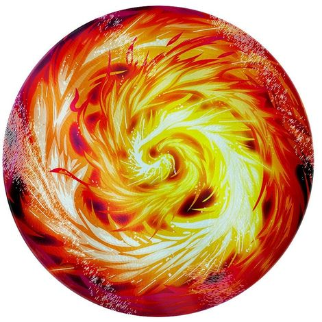 Grindstore Fireball Circular Glass Chopping Board (One Size) (Red)
