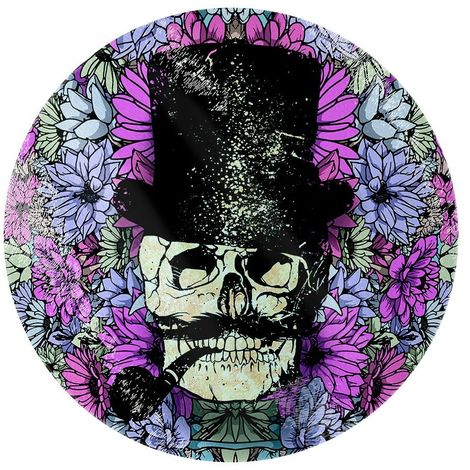 Grindstore Floral Skull Circular Glass Chopping Board (One Size) (Purple)
