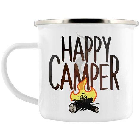 Grindstore Happy Camper Enamel Mug (One Size) (White)