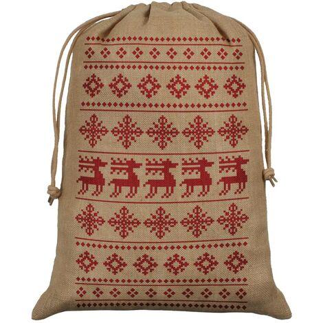 Grindstore Hessian Reindeer Christmas Santa Sack (One Size) (Brown/Red)