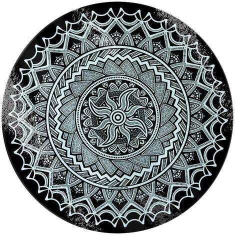 Grindstore Monochrome Mandala Circular Glass Chopping Board (One Size) (Black/White)