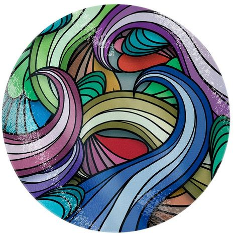 Grindstore Multicoloured Waves Circular Glass Chopping Board (One Size) (Multicoloured)