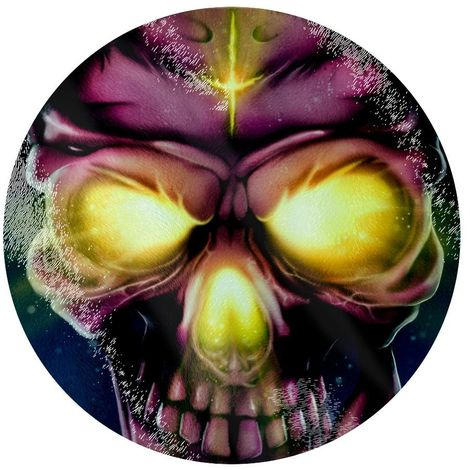 Grindstore Neon Skull Circular Glass Chopping Board (One Size) (Multicoloured)