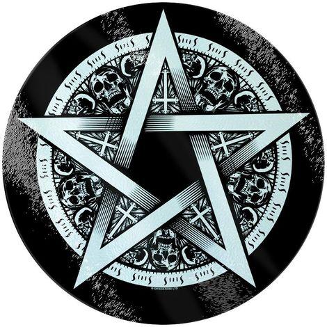 Grindstore Pentagram Star Circular Glass Chopping Board (One Size) (Black/White)