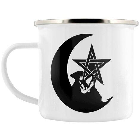 Grindstore Pentagram Witch Enamelled Mug (One Size) (White/Black)