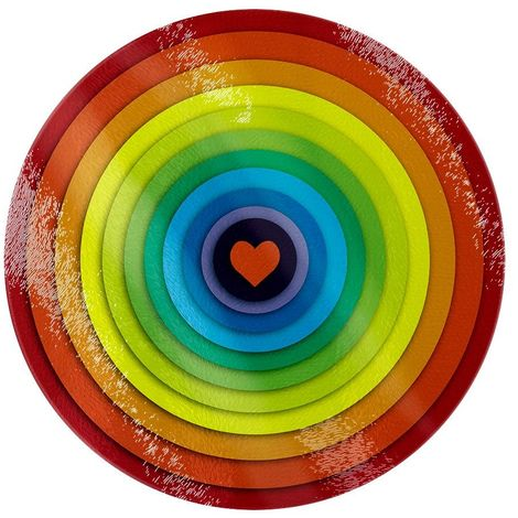 Grindstore Rainbow Heart Circular Glass Chopping Board (One Size) (Multicoloured)