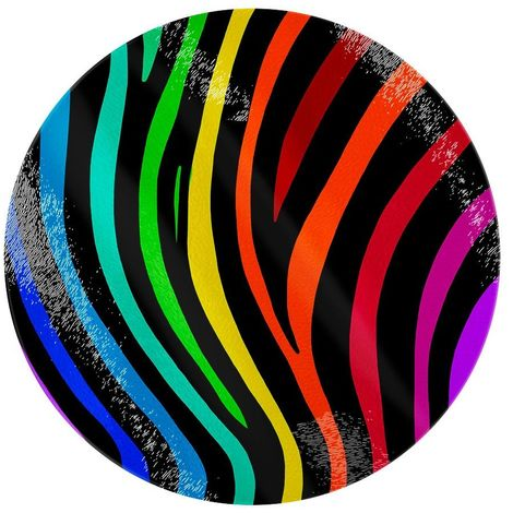 Grindstore Rainbow Stripes Circular Glass Chopping Board (One Size) (Rainbow)