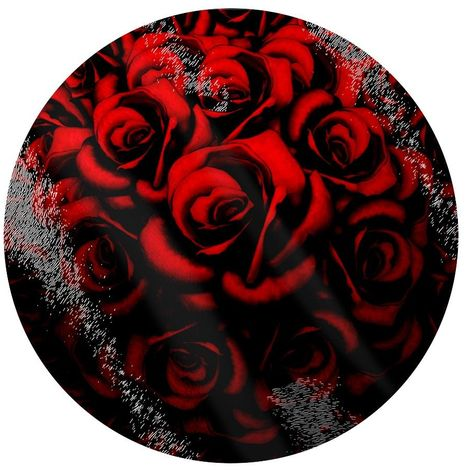 Grindstore Red Roses Circular Glass Chopping Board (One Size) (Red)