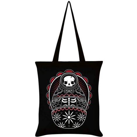 Grindstore Skeleton Matryoshka Tote Bag (One Size) (Black)