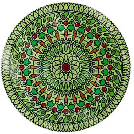 Grindstore Veggie Spiral Glass Chopping Board (One Size) (Green)