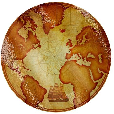 Grindstore Vintage Map Circular Glass Chopping Board (One Size) (Brown)