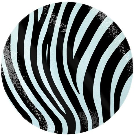 Grindstore Zebra Stripes Circular Glass Chopping Board (One Size) (White/Black)