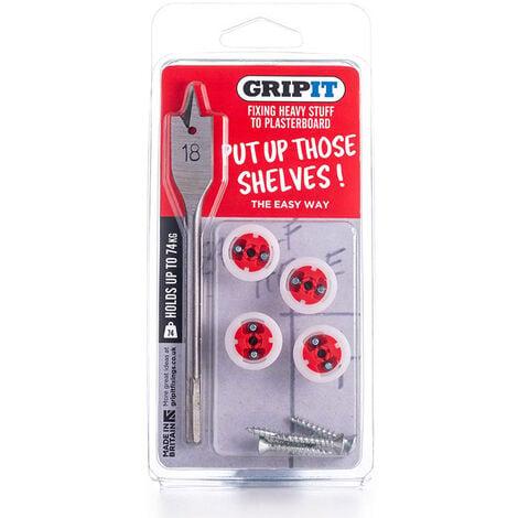 Gripit 18mm Plasterboard Fixing - Shelf Kit (Red) e.g. Small Shelves, Mirrors