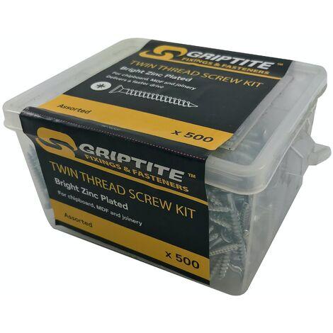 GRIPTITE TWIN THREAD SCREW KIT ASSTD (500 Piece)