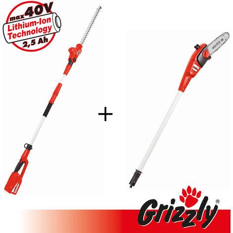 Grizzly Tools 40V 2 en 1, set composé d'un taille-haie télescopique et d'un bouton haut pour un travail en hauteur confortable, éléments de poignée avec poignée télescopique et bandoulière, sans batterie, sans chargeur
