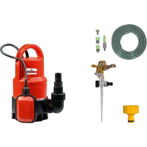 """main image of """"Grizzly Tools Ensemble de pompe submersible pour eau sale INCLUS : un tuyau d'arrosage de 15 mètres, un arroseur de jardin avec connecteurs, un arroseur de pelouse et une pièce de robinetterie"""""""