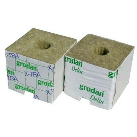 GRODAN - CUBES laine de roche x384 75X75X65 mm trou 25/35MM