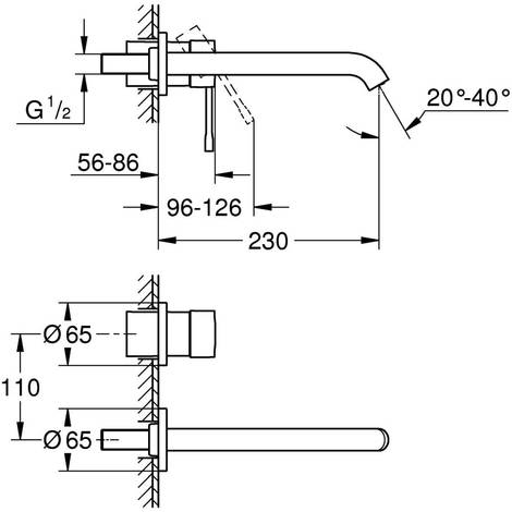 GROHE 2-Loch-WT-Wandbatterie Essence 19967 FMS f. 32635 Ausladung 230mm chrom