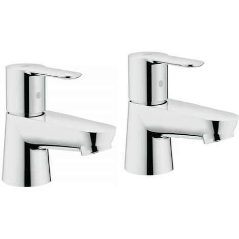 Grohe 20421 BauEdge Single Lever Pair Basin Pillar Taps Chrome 1/2 Inch 2042100M