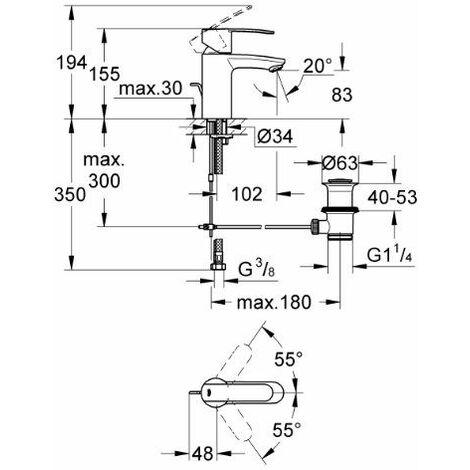 Grohe 23202000 Wave Cosmopolitan Robinet pour lavabo