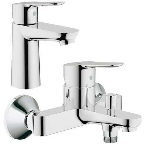 Grohe 23330 BauEdge Single Lever Mono Basin Mixer Tap & 23334 Bath Shower Mixer