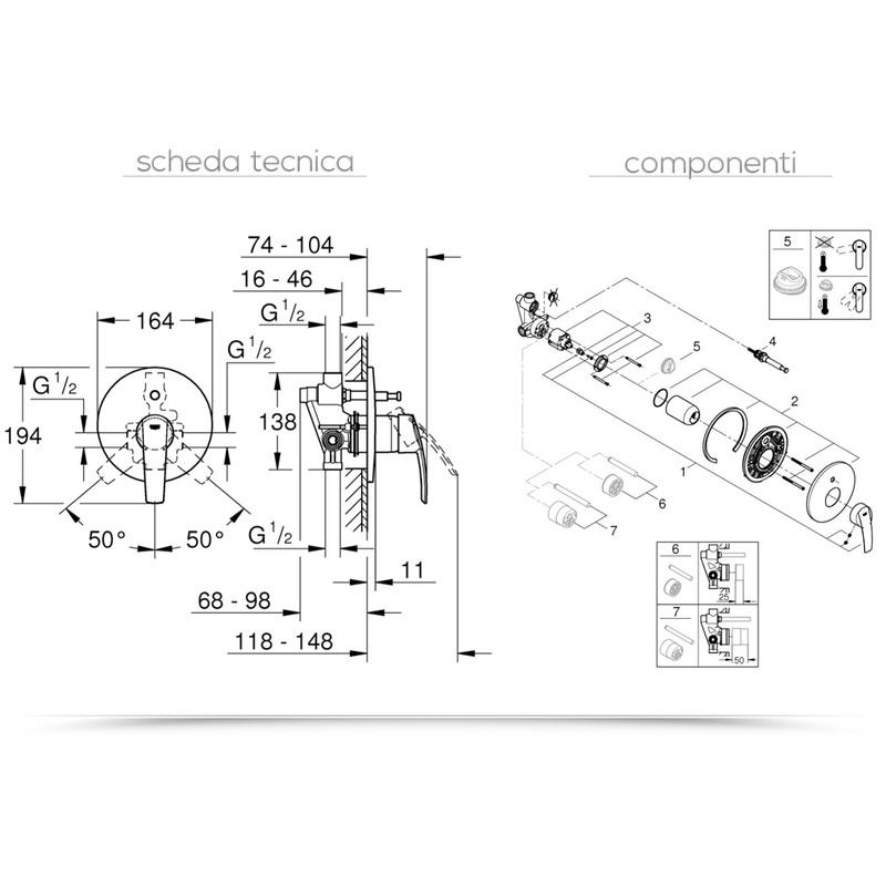 Cromo Grohe 23558001 Miscelatore Vasca//Doccia Incasso con Deviatore Start 2015