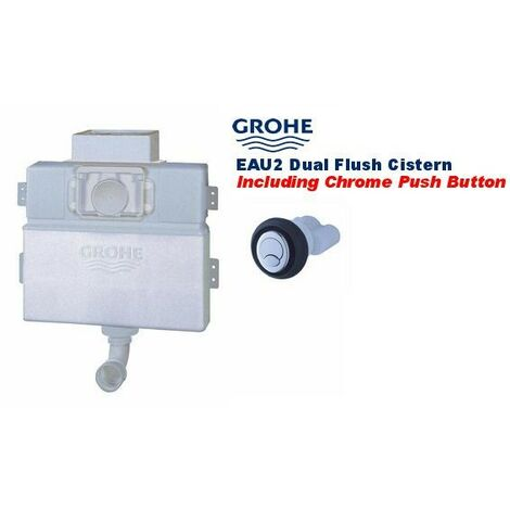Grohe 38691 EAU2 Concealed Cistern with 38732 Chrome Cosmo Dual Flush Plate