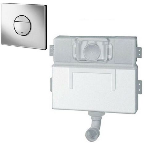 Grohe 38691 EAU2 Concealed Cistern with 38765 Chrome Nova Dual Flush Plate