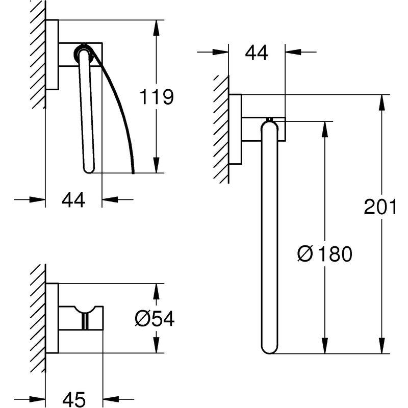 GROHE Set Accessori Bagno 3-in-1 Essentials Cromo 40775001