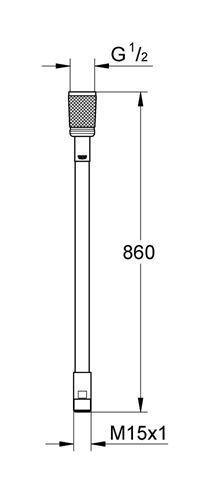 M15 x M15 Brauseschlauch 200 cm Grohe Metall