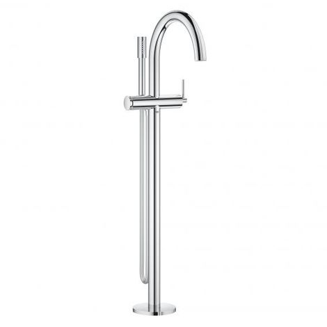 Grohe Atrio single lever bath mixer, floor mounted, automatic diverter bath / shower, 301mm projection