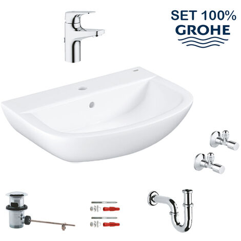Grohe Bau Ceramic set lavabo suspendu 60 cm + mitigeur monocomande + siphon + robinet d'équerre (39644000)