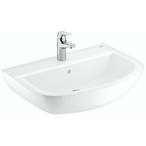 Grohe Bau Ceramic washbasin 60mm with small BauFlow basin mixer tap