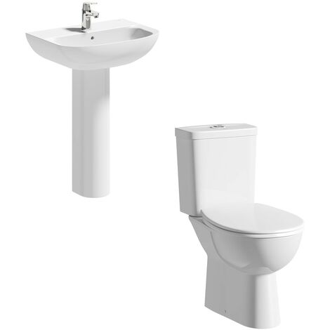 Grohe Bau cloakroom suite with full pedestal basin 600mm