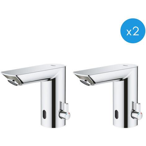 Grohe Bau Cosmopolitan E Lot de 2 mitigeurs lavabo infrarouge 1/2″ avec limiteur de température ajustable, Chromé (36451000-DUO)