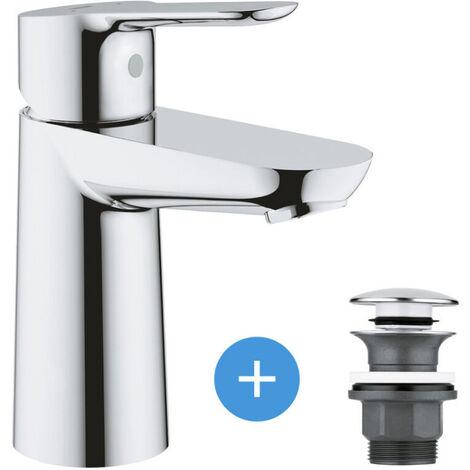 Grohe Bau Edge Set Mitigeur pour lavabo taille S + Bonde clic clac Grohe pour lavabo avec trop-plein (23330000-CLICCLAC)